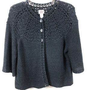 Chico's crocheted knit elbow sleeve cardigan.